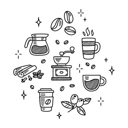 dessin: Ensemble de griffonnages de café dessinés à la main. Les haricots, les tasses, les épices et plus, isolé sur fond blanc. Illustration