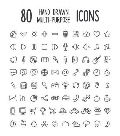 Conjunto de 80 iconos de interfaz multiuso para web o aplicaciones: comunicación, medios, compras, viajes, clima y más. Limpio y minimalista, pero con un toque personal dibujado a mano. Iconos de línea delgada aislados en blanco.