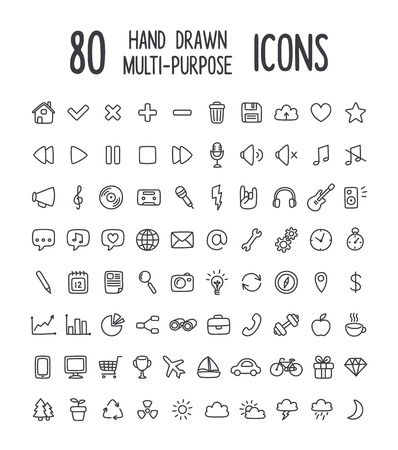 Set of 80 multi-purpose interface icons for web or apps: communication, media, shopping, travel, weather and more. Clean and minimalistic, but with a personal hand drawn feel. Thin line icons isolated on white.