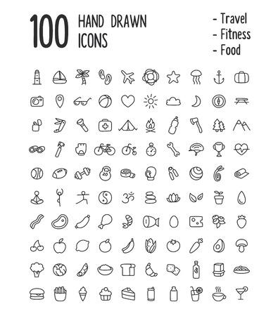Amplio conjunto de 100 iconos de usos múltiples para la web o de aplicaciones: los viajes, el deporte, la salud, la alimentación y mucho más. Limpio y minimalista, pero con una sensación de dibujado a mano personal. Iconos delgada línea aislados en blanco. Ilustración de vector