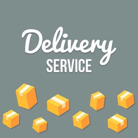 Delivery service design template with pattern of isometric parcels that can be tiled seamlessly to left and right to create optimal width. Illustration
