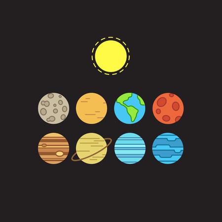 Set van symbolische gestileerde iconen van zonnestelsel planeten en de zon op een zwarte achtergrond.