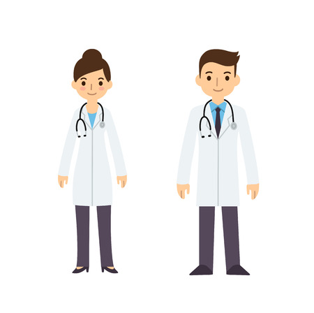 Two young doctors, man and woman, in cute flat cartoon style. Isolated on white background.