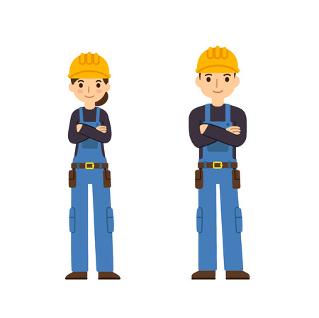building contractor cartoon: Two young construction workers, male and female, in cute flat cartoon style. Isolated on white background.