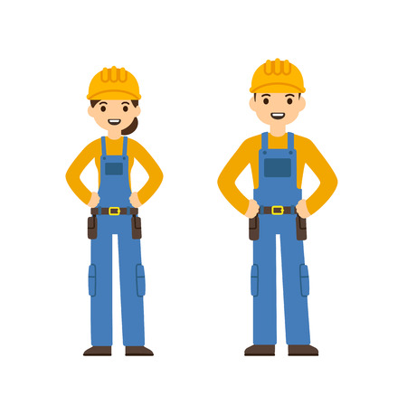 Dos trabajadores de la construcción jóvenes, hombres y mujeres, en el estilo de dibujos animados lindo plana. Aislado en el fondo blanco.
