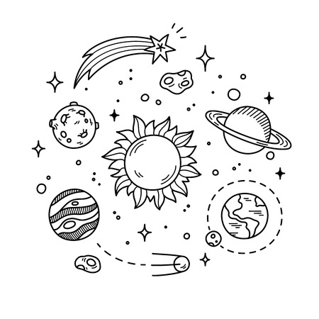 Hand drawn solar system with sun, planets, asteroids and other outer space objects. Cute and decorative doodle style line art.