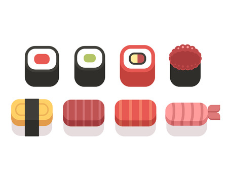 raw egg: Set of simple sushi icons, geometric flat style. Illustration