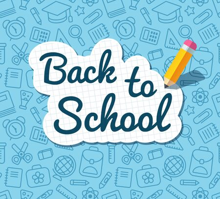 Back to school words banner on lined notebook paper and flat vector pencil on blue pattern of education related symbols. Texture can be tiled seamlessly in any direction.