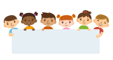 Cute cartoon diverse children holding blank text banner. Vectores