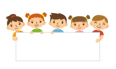 estudiante: Los niños lindos de la historieta que sostiene la bandera en blanco plantilla.