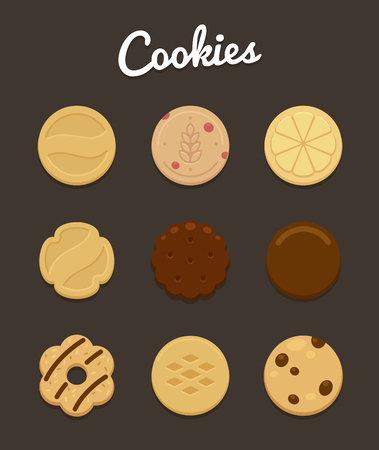 chocolate chip: Assortment of nine delicious cookies of various shape and taste. Illustration