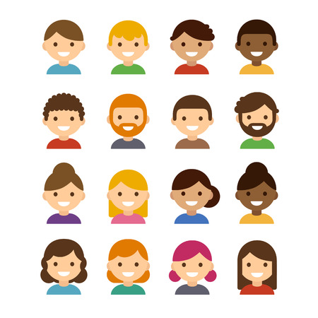 Set of diverse male and female avatars isolated on white background. Different skin tones, hair colors and styles. Cute and simple flat cartoon style.