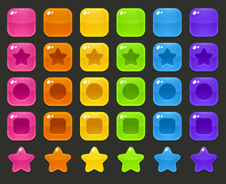 Set of colorful glossy blocks for match 3 or puzzle game. Different shapes and colors. Vettoriali