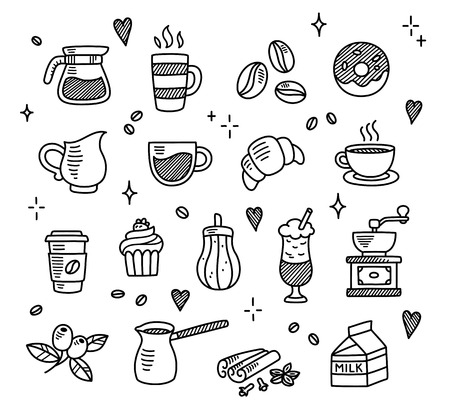 Large set of hand drawn coffee doodles: drinks, desserts, beans and other related objects. 向量圖像