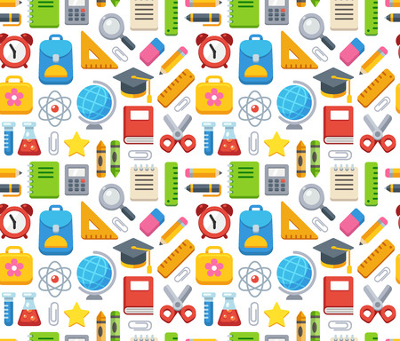 Colorful school seamless pattern. Books, supplies and learning symbols.