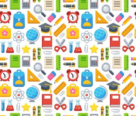 Kleurrijke school naadloos patroon. Boeken, leveringen en leren symbolen. Stock Illustratie