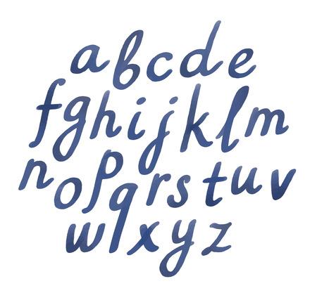 carta: Conjunto de cartas escritas a mano acuarela aislados en blanco. Símbolos en minúscula cursiva elegante.
