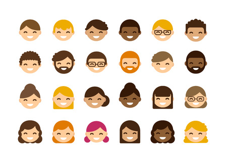 Set of diverse male and female avatars isolated on white background. Different skin color and hair styles. Cute and simple flat  style. Ilustração