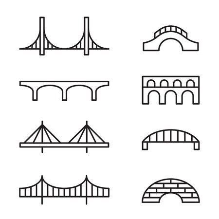 suspension bridge: Set of simple bridge line icons.