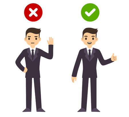 man thumbs up: Cartoon business man gesturing yes and no with wrong and right web icons. Isolated on white background.
