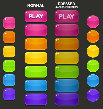 A set of juicy, vibrant game buttons in different shapes and colors. Stock Illustratie