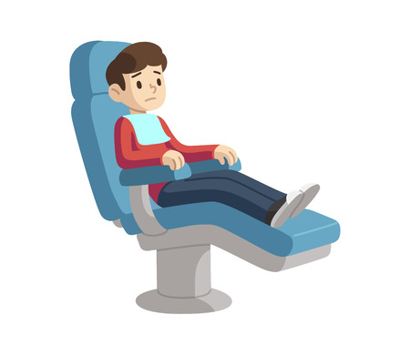 Cute cartoon boy on dentist visit sitting in dental chair with scared expression.