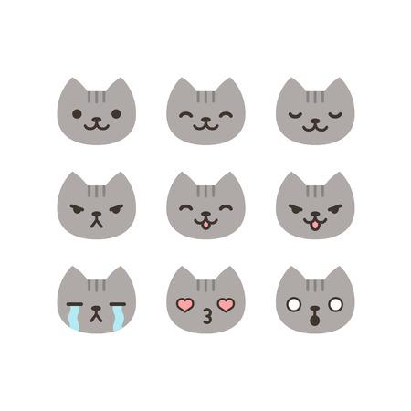 간단하고 귀여운 만화 스타일의 고양이 이모티콘의 집합입니다.