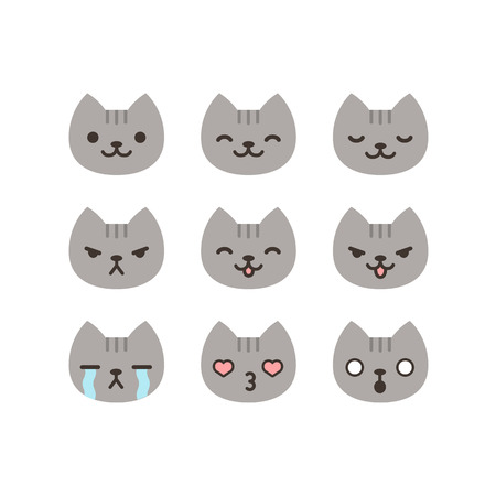 koty: Zestaw kotów emotikonów w prosty i cute cartoon stylu. Ilustracja