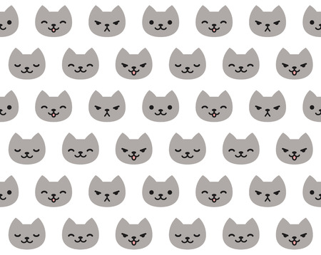 Seamless pattern of cute cat faces with different emotions. Illustration