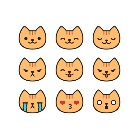 emoticons: Set of cute cat emoticons with different expressions in simple cartoon style. Illustration