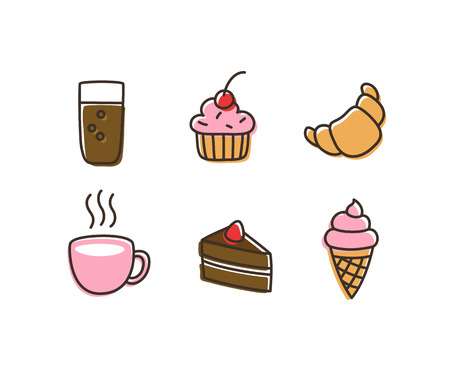 soft ice: Hand drawn vintage icons of sweet desserts and drinks.