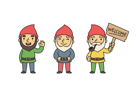Set of three cute garden gnomes. Standing, waving, holding Welcome sign.