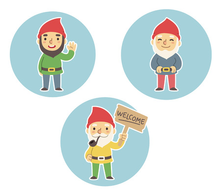 Three cartoon garden gnomes. Standing, waving, holding Welcome sign. Ilustracja