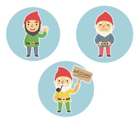 Three cartoon garden gnomes. Standing, waving, holding