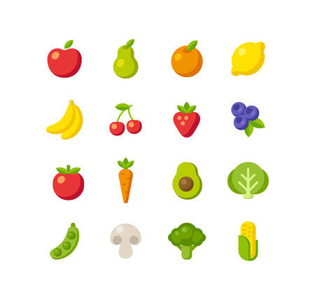 Set of healthy fruit and vegetable icons. Simple and clean flat style.