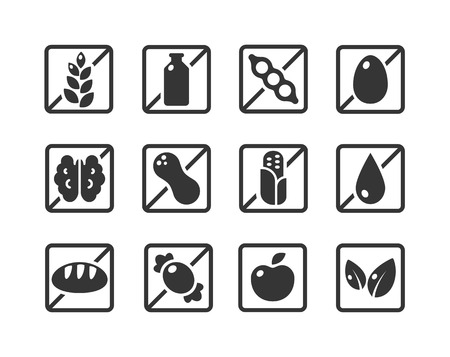 food icon: Set of square ingredient warning label icons. Common allergens (gluten, dairy, soy, egg, nuts and more), sugar and grains, vegetarian and organic symbols. Illustration