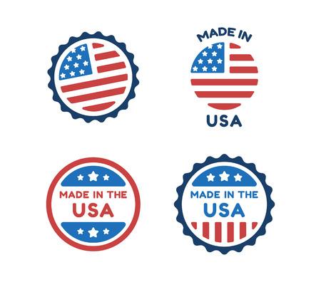 sellos: Cuatro etiquetas Made in USA en colores de la bandera americana aislados sobre fondo blanco.