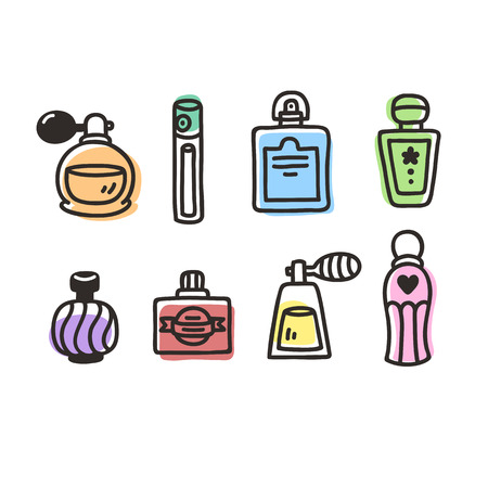 simple store: Set of hand drawn perfume bottles. Vintage cartoon style.