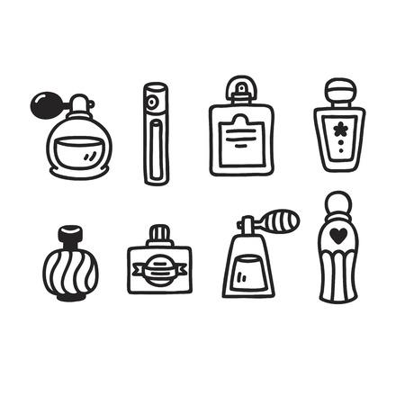 perfume: Set of hand drawn perfume bottles. Simple cartoon doodle style.