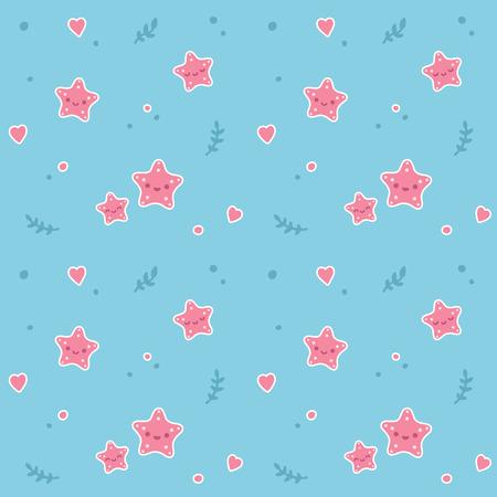 star fish: Seamless pattern with cute cartoon sea stars, seaweed and hearts.