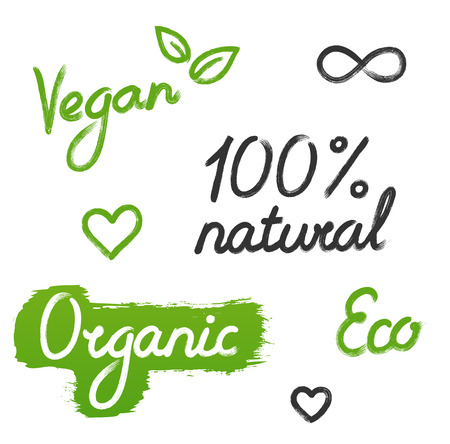 Set of handwriting labels: Vegan, Eco, 100% natural, Organic, with hand drawn doodles, isolated on white background. Illustration