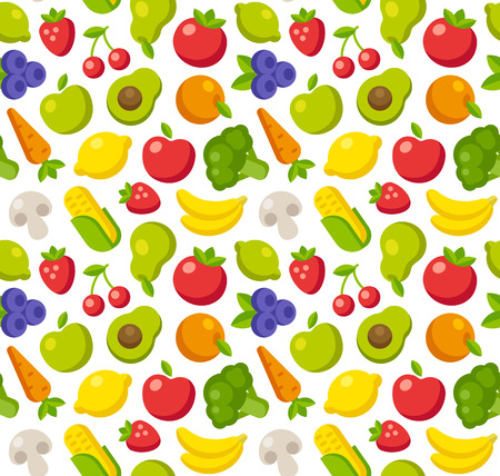 Seamless pattern of flat fruits and vegetables.