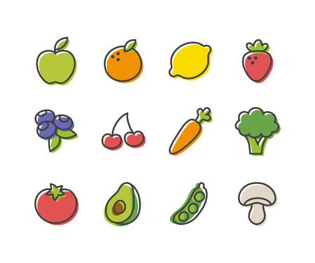 cartoon mushroom: Isolated vintage cartoon fruits and vegetables illustration.