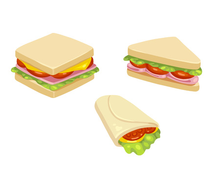 Set of three delicious sandwich illustrations: rectangle, triangle and wrap.