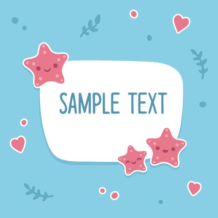 text frame: Sea text template with cute cartoon starfish and background doodles. Illustration