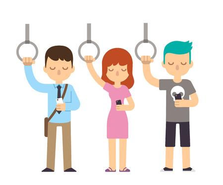 tren caricatura: Las personas en viaje de metro mirando a los tel�fonos inteligentes. Oficinista joven, mujer bonita y adolescente punk.