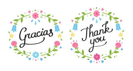 postcards: Handwritten decorative Thank You banner in English and Spanish with simple cute floral wreath.
