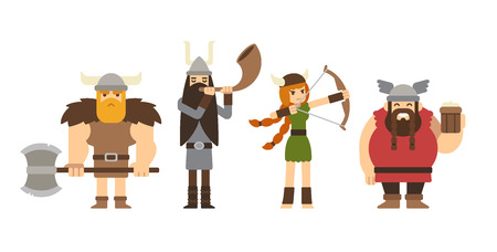 Set of cartoon vikings: muscular with axe, tall with horn, fat with beer and woman with bow.