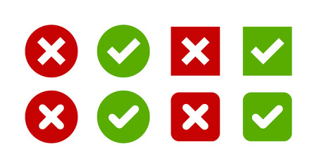 check icon: A set of four simple web buttons: green check mark and red cross in two variants: square and rounded corners.
