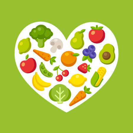 Healthy food pattern: colorful cartoon fruits and vegetables arranged in a heart shape. Çizim
